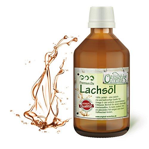 Original-Leckerlies: Lachsöl 250 ml in brauner Apotheker-Glasflasche- 100% rein & kaltgepresst, Lebensmittelqualität, Naturprodukt für Hunde, barfen