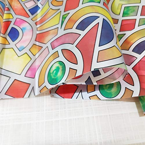 LMKJ Película de Vidrio con patrón de Colores, película Adhesiva, Protector Solar Opaco, Puerta y Ventana, película de Mesa para Armario A104 30x100cm