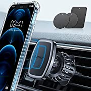 #LightningDeal LISEN Phone Holder Car, [Upgraded Clip] Magnetic Phone Mount [6 Strong Magnets] Car Phone Mount [Case Friendly] Phone Car Holder Mount Compatible with 4-6.7 inch Smartphones and Tablets