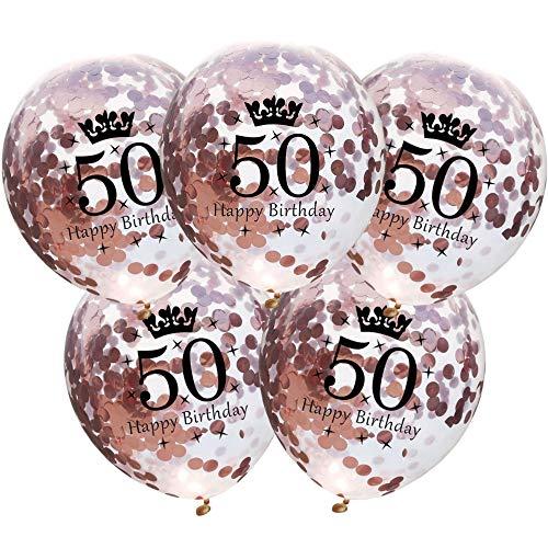 DIWULI, 5 Pezzi Palloncini di Compleanno, Numero 50, Happy Birthday, Buon Compleanno, Lattice Palloncino Oro Rosa, Pallone Numeri Anni, 50° Compleanno, Matrimonio, Festa, Anniversario, Decorazione