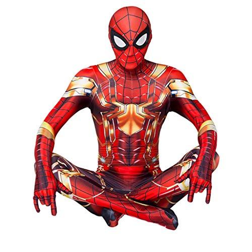 WQLESO Kinder-Stahl-Ausführung der Spinne -Man Cosplay Kostüme Klage Lycra Spandex Weihnachten Halloween anzeigen Bodysuit Jumpsuits Adult,Golden King Kong Spiderman- Height (125~135cm)