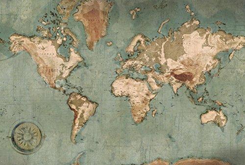 Scenolia Papel pintado no tejido Mapa del mundo Mural Planisferio 4 x 2,70 m - Decoración con efecto trompe l'Oeil - Revestimiento de paredes panorámicas vintage - Fácil instalación y calidad HD
