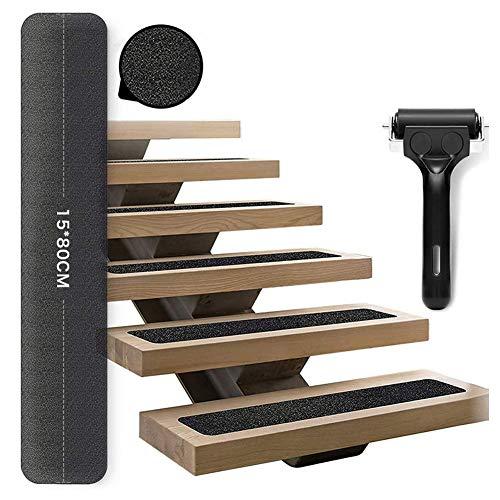 Queta 15er Antirutschstreifen Treppe Set Rutschfest Stufenmatten Rutsch Streifen Treppenstufen Matten Rutschschutz Antirutschstreifen mit Installationsrolle