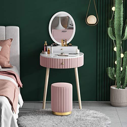 OPXZPM Sminkbord sminkbord låda sovrum makeup byrå bord pall sminkbord sovrum möbler fotpall, set 7, LED-spegel