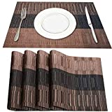 Placemats for Dining Table, YouCoulee Table Mats Set of 4 Heat Insulation Stain Resistant Non-Slip PVC Place Mats, Durable Washable Cross Weave Woven Vinyl Placemat Coffee-2