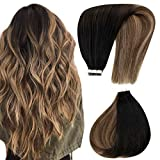 Hetto Tape in Real Hair Extensions Human Hair Tape on Balayage Color #1B Off Black mix #4 Dark Brown and #27 Honey Blonde Seamless Tape on Extensions 12inch 40Gram
