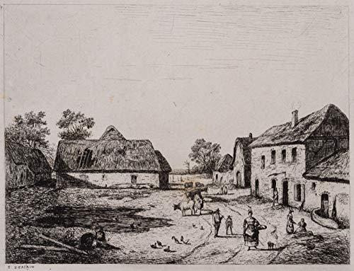 H. W. Fichter Kunsthandel: Emile Dessain (*1808), Bauernhof mit Tieren, Rustikales Genrebild, Radierung