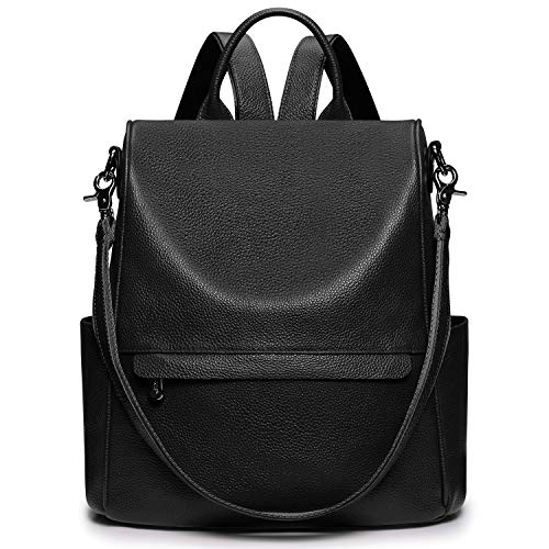 S-ZONE Women Genuine Leather Backpack Bag Anti-Theft Travel Rucksack Convertible Shoulder Bag Backpack