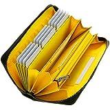 GrayLife Monster Wallet 長財布 YKK 大容量 カーボンレザー メンズ 財布 ウォレット 小銭入 (Yellow)