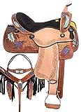 Wonder Wish Barrel Racing Western Pleasure - Juego de tacos para sillín de caballo (piel), color negro