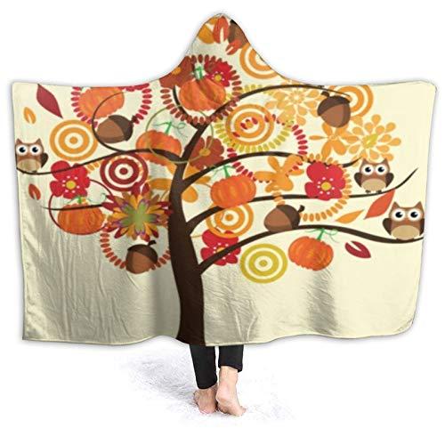 LISUMAL Tragbare Hoodie Decke,Patch Orange Kürbis Herbst Baum Eicheln Blumen...