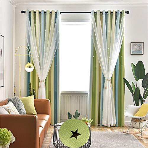 Wohnzimmer Doppel-Schicht Verdunkelungsvorhänge, Sternenhimmel Möbel, Hauptdekoration Screens (Color : 1)