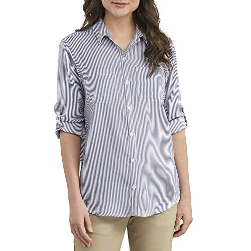 dickies Women's Long Sleeve Lyocell Button Up Shirt, Rinsed Blueberry/White Stripe, 3PS