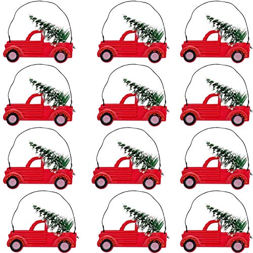TopNotch Outlet Holiday Decorations - Hanging Ornament Set (12 Pc) Fun Mini Red Truck with Tree - Christmas Ornaments - Vintage Retro Red Truck Decor