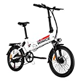 Vivi 20 Zoll Elektrofahrrad,Klapprad E-Bike,250W 36V 8 Ah Lithiumbatterie Faltbares Elektrofahrrad für Erwachsene (White)