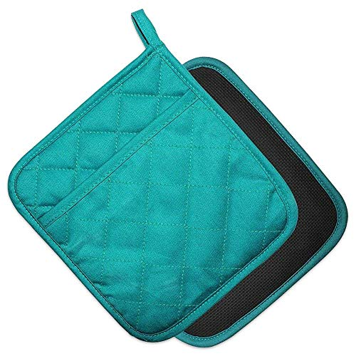 YEKOO Cotton and Neoprene Oven Pads Pot Holders with Pocket 8'x8.5' Dual-Function Hot Pad Set for Finger Hand Wrist Protection Heat Resistant to 428°F Teal