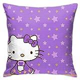 ChenZhuang Hello Kitty - Fundas de almohada decorativas de algodón para salón, sofá, cama, fundas de almohada suaves, 45 x 45 cm