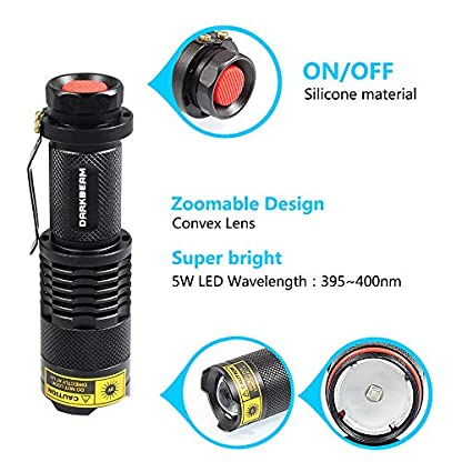 DARKBEAM Blacklight Flashlights Portable 395nm Led Flashlight Mini Handheld Torch Black Light Detector for Dog Urine, Pet Stains 3