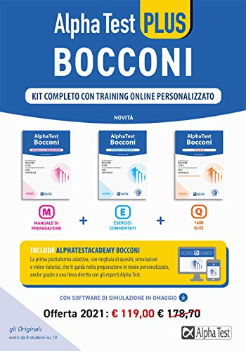 Alpha Test plus. Bocconi. Kit completo con training online personalizzato