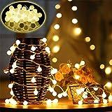 50 LED Cadena Luces con 8 Modos,Farolillos Luz Decorativos con Mando a Distancia IP65 Impermeable Iluminación para Interior/Exterior,Bolas Decorativas Fiesta,Jardín, Navidad (blanco cálido)