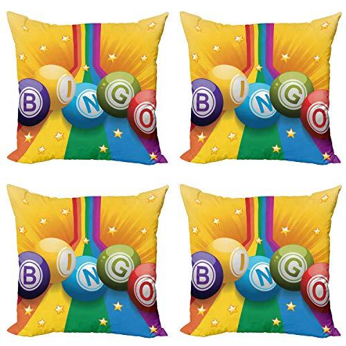 ABAKUHAUS Bingo Set de 4 Fundas para Cojín, Bolas Coloridas del Arco Iris, Estampado Digital en Ambos Lados y Cremallera, 50 cm x 50 cm, Multicolor