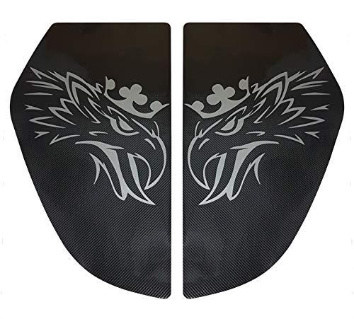 Unbekannt 2er Set Karbonfaser-Aufkleber, Dekoration für die S und R Serie 2016 + Jahre LKW Bett Fenster Silber Griffin Eagle Cabin Zubehör