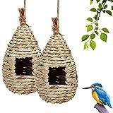 Hywean 2 Piezas Nido de pájaro Colgante, casa de Paja Natural pájaros, Nido de jardín Tejido a Mano para pájaros, casa de pájaros Interior y Exterior, para pájaros pequeños como colibrí, Teta, para