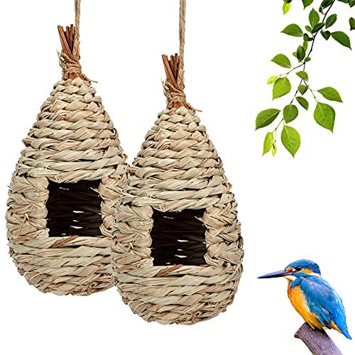 Hywean 2 Pcs Nido per Uccelli da Appendere, Natural Casa degli uccelli di paglia, Casetta per Uccelli Intrecciati a Mano Nido per giardino Adatto a piccoli uccelli come passeri e colibrì