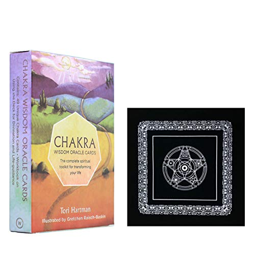 Chakra Oracle Tarot Card Deck Card Board Game with Black Plush Altar Table Cloth,Pentagram Retro Tarot Cloth, Cards Angelic Guidance Board for Family Party