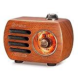 Radio de Madera PRUNUS R-818, Radio portatil pequea, Altavoz Bluetooth,Mini Radio FM con Estilo Vintage, Radio Recargable, Altavoz Sonido de Graves, Soporta la Entrada AUX. (Madera de Cereza)