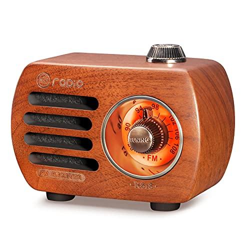 Radio in legno PRUNUS R-818,Radio Portatile,altoparlante Bluetooth, mini radio FM in stile vintage, radio ricaricabile, altoparlante per bassi di alta qualità, Supporto AUX (Ciliegia)