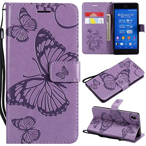 Bravoday Sony Xperia Z3 Hülle Handyhülle Sony Xperia Z3 Schutzhülle [Kartenfach] [Magnetverschluss] TPU Soft Shockproof für Sony Xperia Z3-Violett