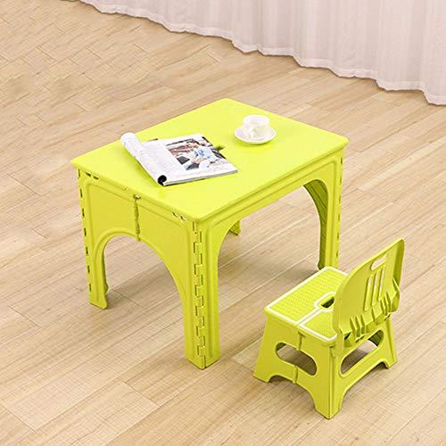 ZH Mesa y Silla Plegables para Infantiles, Mesa de Actividades Plegable portátil para niños pequeños, Juegos de Mesa de plástico y 2 sillas para niñas de niños
