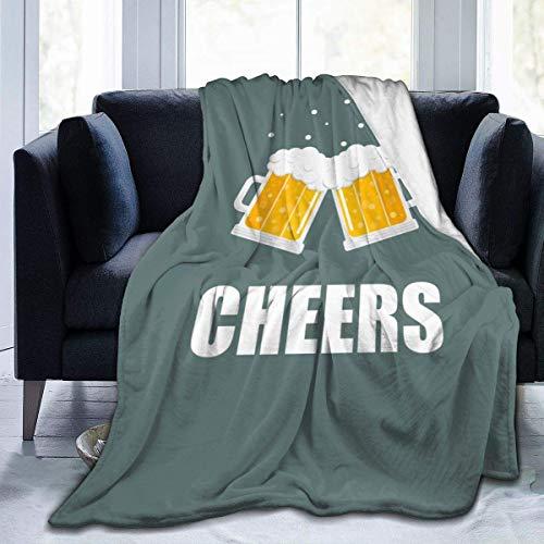 Manta de Lana, Cheers Beer Men 's Unisex Throw Blanket Felpa Polar Manta Throw Fuzzy para Hombres y Mujeres