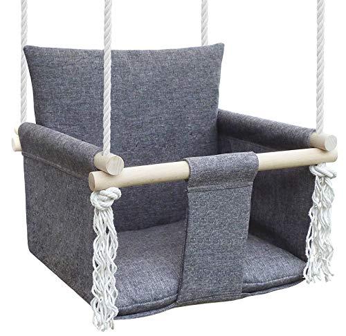 NATILU Babyschaukel Hängesessel Kinder Kinderschaukel Baby schaukel Indoor Holz Silver