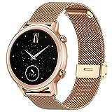 Kompatibel mit Honor Magic Watch 2 42mm/Huawei Watch GT/GT2 42mm/Galaxy Watch Active 2/Galaxy Watch 42mm Armband Masche Metallband Uhrenarmbänder (20mm, N-Roségold)