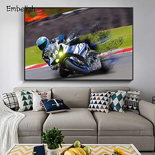 KWzEQ Leinwanddrucke Cooles Motorradwandkunstplakatplakat und Bilder für Wohnzimmer60x80cmRahmenlose Malerei
