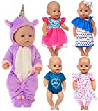 iBayda Total 5 Lots Doll Clothes Accessories Include Unicorn Rompers Dress Pants for 43cm New Born Baby Dolls and 18 inch Dolls Like American Girl Doll