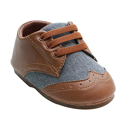 Kuner Toddler Baby Boys Brown Pu Leather +Canvas Rubber Sole Outdoor First Walkers Shoes (12.5cm(9-12months))
