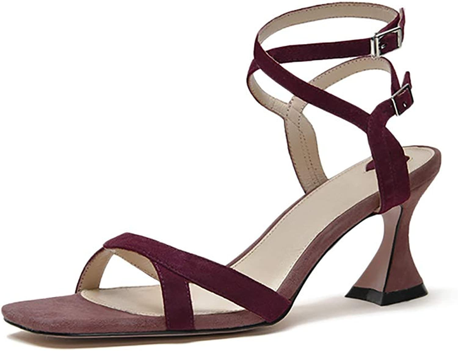 Women's Lace-up Sandals, Vintage Chunky Heels, Wine Red 7cm (color   Wine red, Size   34)