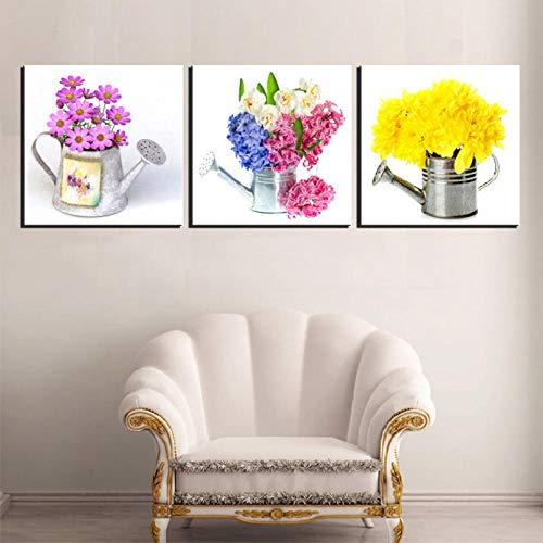 Tuin gieter bloem muurschildering moderne decoratie slaapkamer decoratie schilderen 50X50cmX3 (geen frame)