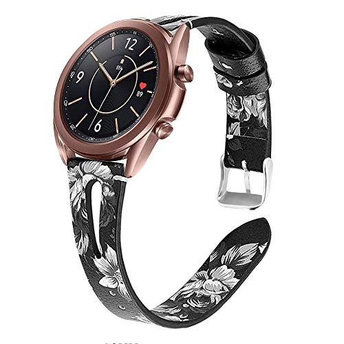 YSSNH Quick Release 20mm Watch Band Genuine Leather, Replacement for Galaxy Watch 42mm/Active(40mm)/Active 2 40mm 44mm/Gear S2 Classic/Samsung Galaxy Watch3 41mm Smart Watch with 20mm Luggs for Women