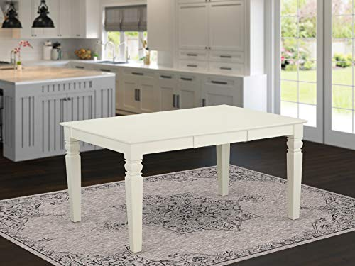 East West Furniture Butterfly Leaf Weston Dining Table-Linen white Table Top Surface and Linen white Finish Fabulous 4 Legs Hardwood Structure Modern Dining Table