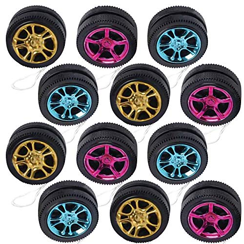 ArtCreativity Mini Designer Wheel Yoyos for Kids, Pack of 12, Plastic Yo-Yo Toys in Assorted Colors, Birthday Party Favors, Goodie Bag Fillers, Holiday Stocking Stuffers, Classroom Prizes