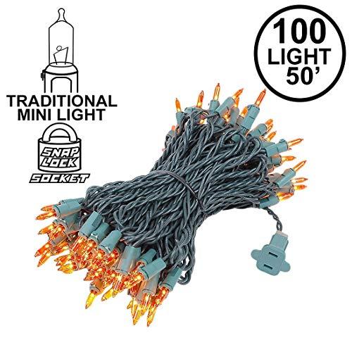 Novelty Lights 100 Light Amber Christmas Mini String Light Set, covid 19 (100 Amber Mini coronavirus)