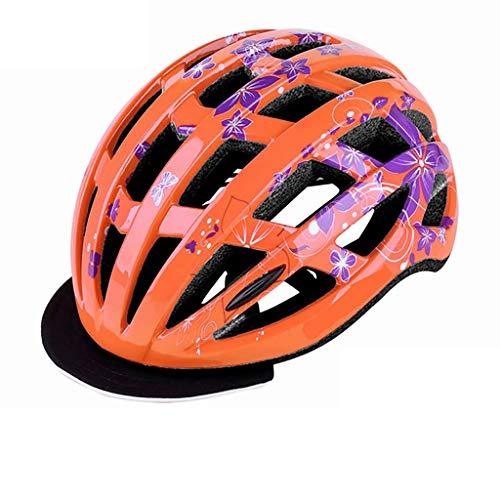 HONGLONG Casque de vélo de la Jeunesse, Soufflerie Design, réglable Circonférence de la tête, Convient pour la Ville, Route, électrique, randonnée pédestre,Orange