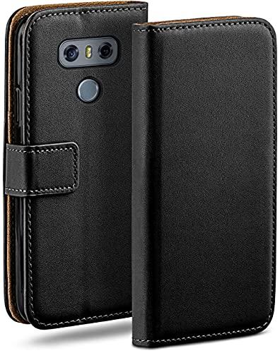 moex Klapphülle für LG G6 Hülle klappbar, Handyhülle mit Kartenfach, 360 Grad Schutzhülle zum klappen, Flip Hülle Book Cover, Vegan Leder Handytasche, Schwarz