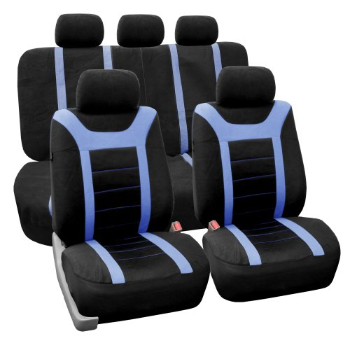 FH GROUP Universal Fit Full Set Sports Fabric Car Seat Cover with Airbag & Split Ready, (Blue/Black)…