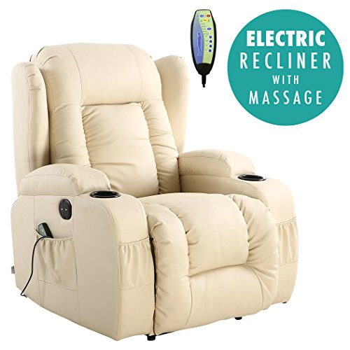 More4Homes CAESAR ELECTRIC AUTO RECLINER MASSAGE HEATED GAMING WING LOUNGE BONDED LEATHER CHAIR (Cream)
