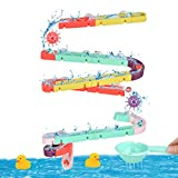BUYGOO 44PCS Badespielzeug Badewannenspielzeug, BAU-Puzzle Autorennbahn Badewanne Spielzeug Kinder Badespielzeug Wasserspielzeug für Kinder ab 3 Jahre Junge Mädchen